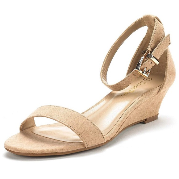 6ee8be2574 Dream Pairs Shoes   Suede Ingrid Ankle Strap Low Wedge Sandals ...
